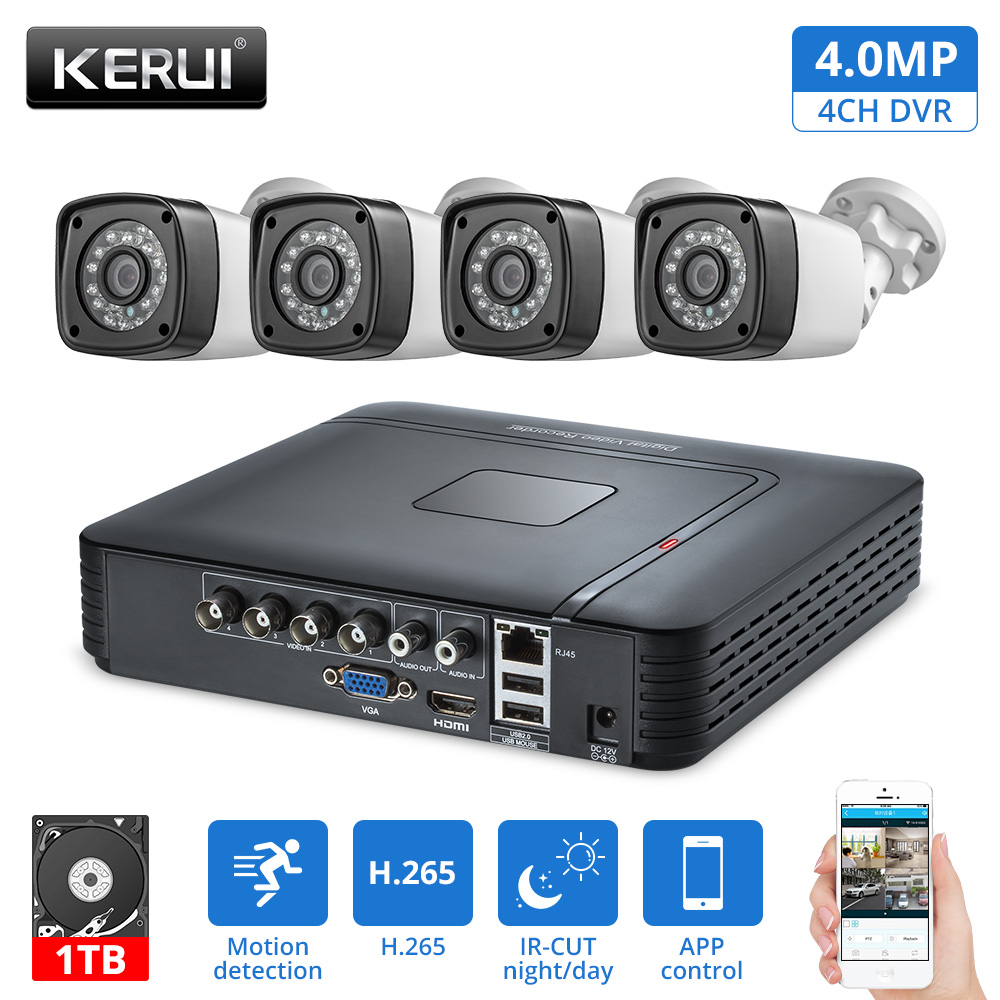KERUI 4MP Ao Ar Livre À Prova D' Água Câmera AHD 1 TB HDD 4CH Kits DVR HDMI CCTV de Vigilância de Vídeo Sistema de Câmera de Segurança Em Casa sistema de Kit