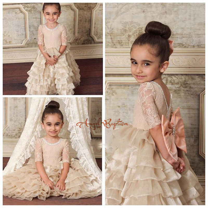 Cute champagne Tiered Flower Girl Dress for wedding Floor Length Cute first communion dresses for girls Lace up Back with bow plus polk dot tiered ruffle trim open back dress