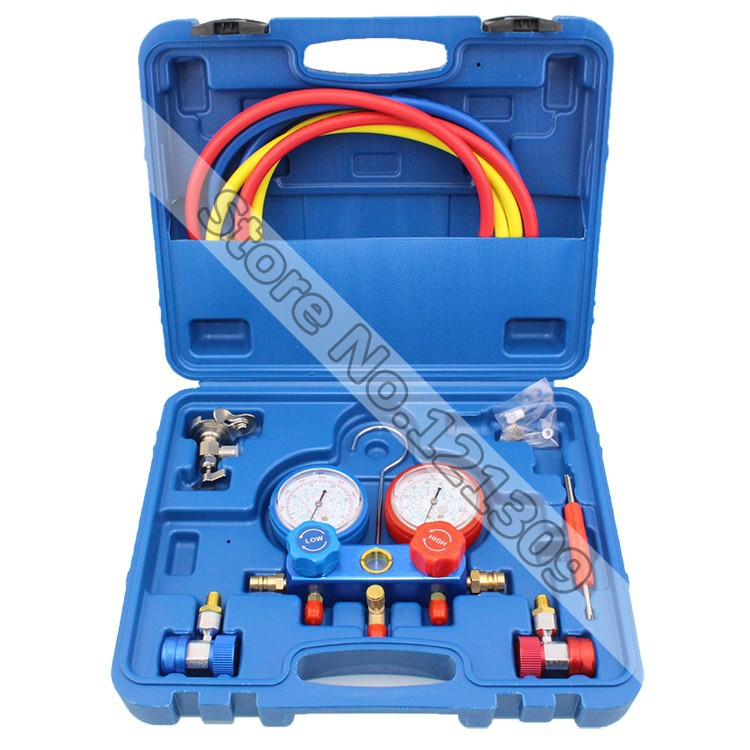 Refrigeration Air Conditioning freon adding gauge Car Maintenance Tools R134A Manifold Gauge Set car air conditioning refrigeration pressure test gauge r134a at2217