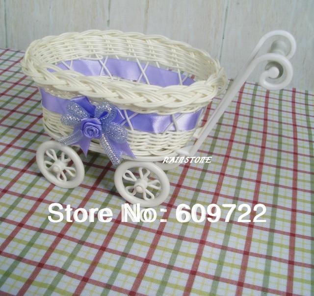 Online Shop Plastic Rattan Basket 2pcs Wedding Wheelbarrow Car Vase