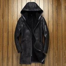 100% gerçek koyun derisi kürk uzun ceket çatlak zanaat hakiki koyun Shearling ceket erkek kış uçuş ceket gri erkek kürk sıcak palto