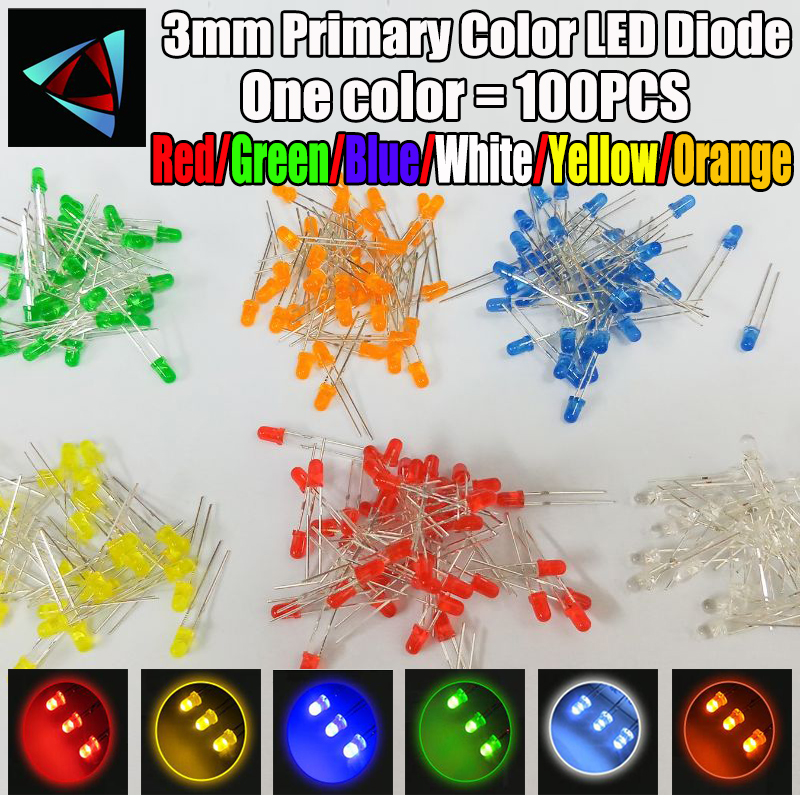 6Colors*20PCS=100PCS / 1Color=100pcs F3 3mm LED Diode Light Assorted Kit Green Blue White Yellow Red Orange COMPONENT DIY Kit