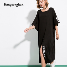 Hongsonghan women's short sleeve fork positive High Slit dress over knee long summer clothes enlarged size letter printing dress