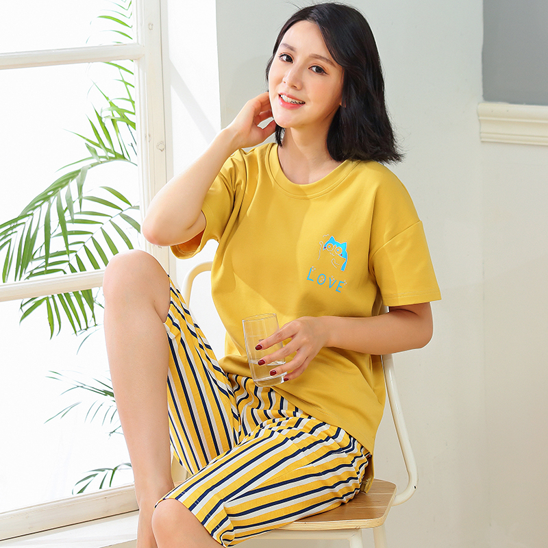 Brand New Summer Women's Cute Cartoon Printing Cotton Pajama Sets Female Sleepwear Striped Homewear  Pyjamas Plus 3XL Clothing