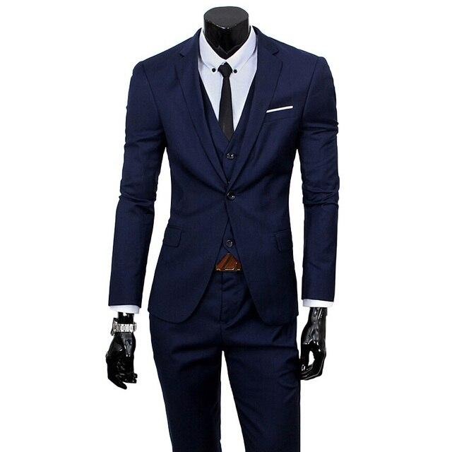 2016 Nuevos Hombres de Los Trajes de Una sola Hebilla de La Marca de Trajes de Chaqueta de Los Hombres Del Vestido Formal Conjunto Traje de Boda de Los Hombres Trajes de Novio Esmoquin (Jacket + Pants + Vest)