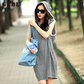2016 Women Sleeveless Striped Hooded Pockets Summer Dresses Casual Loose Boho Mini Shift Shirt Dress Vestidos De Fiesta CL2852