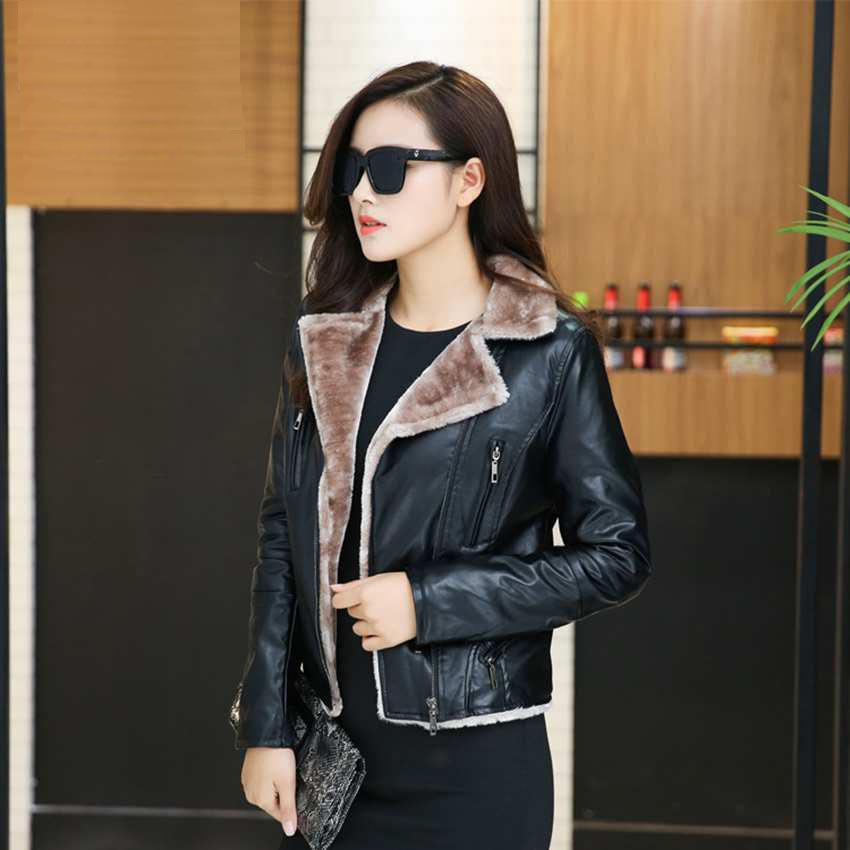 c5641d6ef design shearling faux leather jacket women suede coat black red lady  outerwear pu coats short brand casual flocking clothes 422-in Leather &  Suede ...