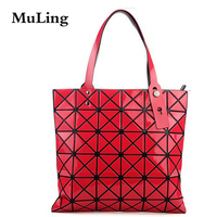 03eb8e470 Female Fold Geometric Plaid Bag Women Fashion Casual Tote Top Handle Bag  Shoulder Bags Bao Bao