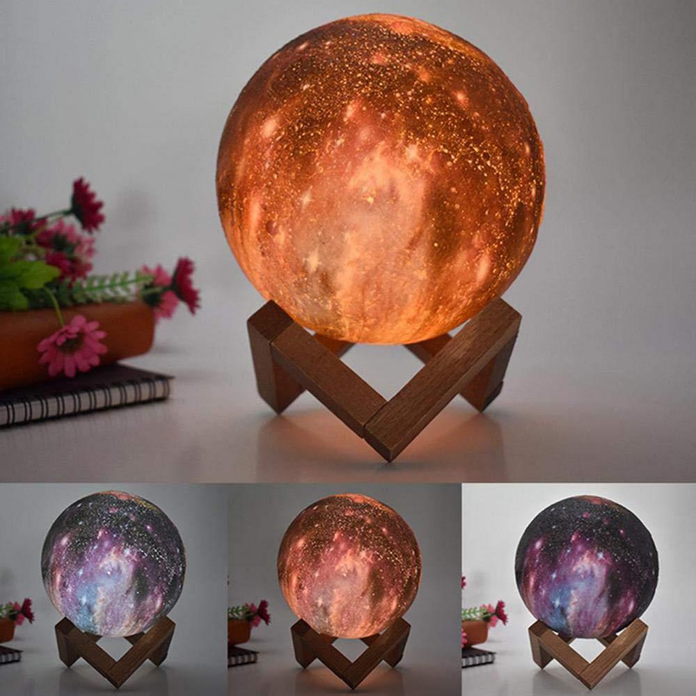 Maan Lamp Persoonlijkheid 3D Afdrukken Creatieve Lunar USB Opladen Licht Nachtlampje LED Afstandsbediening Helderheid - 5