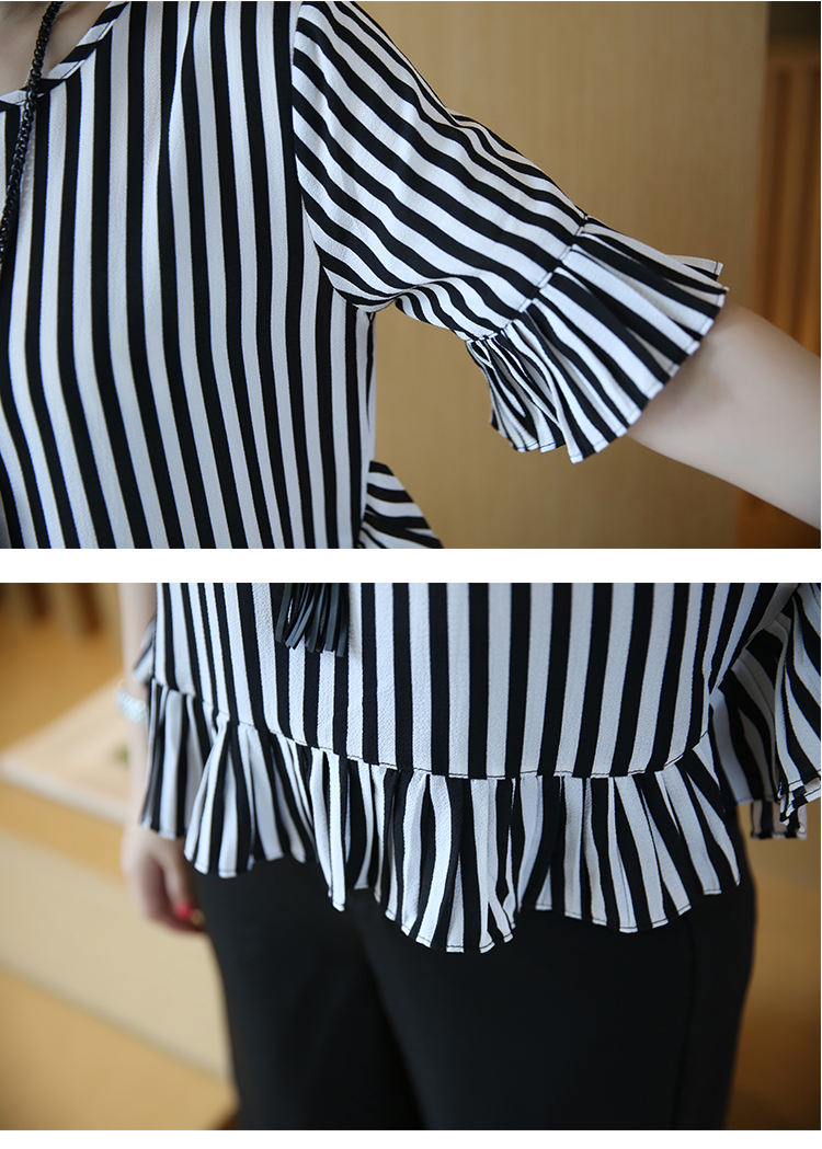 XL -4XL New women's clothing big yards wide leg korean fashion stripe pleated chiffon blouse suits summer two-pcs set loose 21