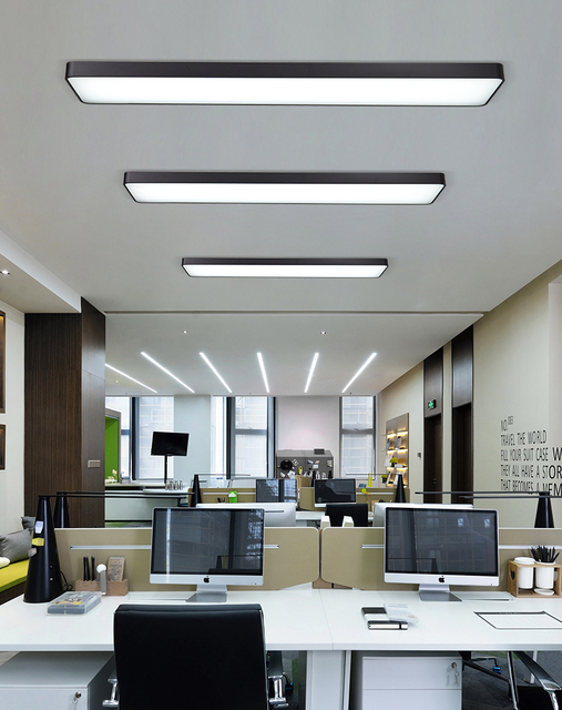 Office chandelier led hanging line rectangular meeting room lighting modern studio simple strip office lighting