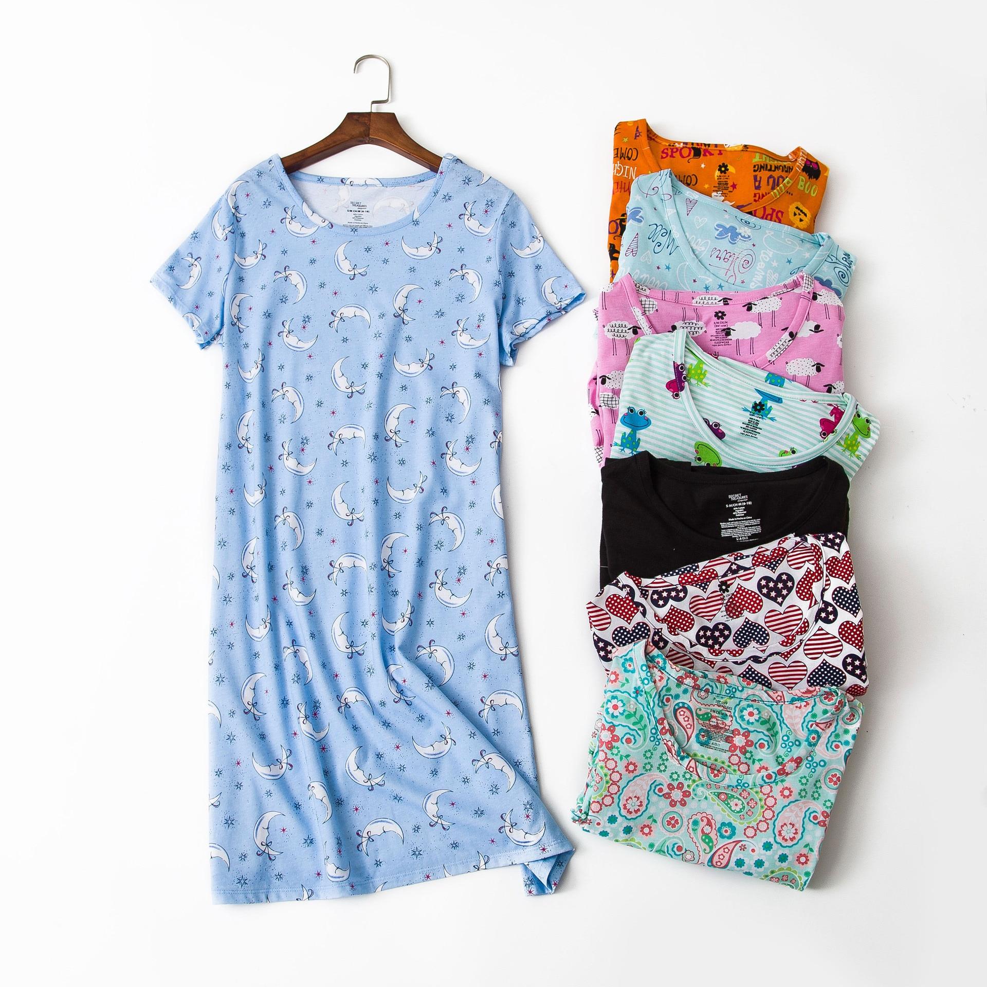 New 100% Cotton Short Sleeved   Nightgowns   Cute Cartoon Family Clothes Women   Sleepshirts   Plus Size Sleeping Skirt Simple Dresses