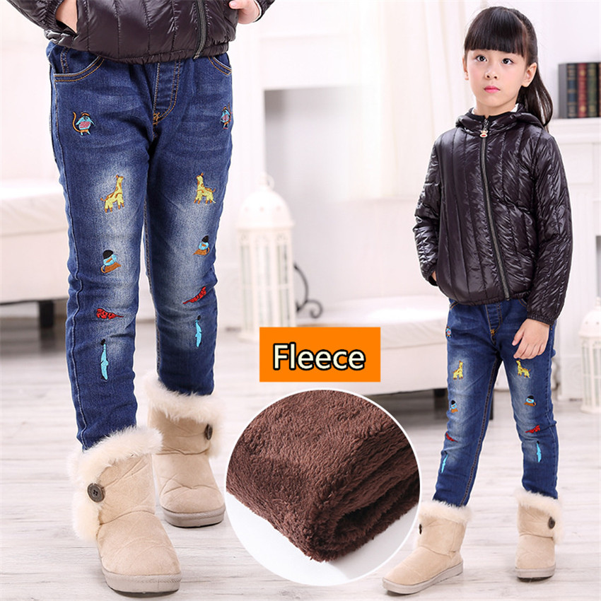 3-10 y children girl jeans denim pants fleece warm winter girls jeans pants kids clothes elastic denim trousers for girls sokotoo men s fashion slim fit plaid horse print jeans male elastic thin denim pants long trousers free shipping