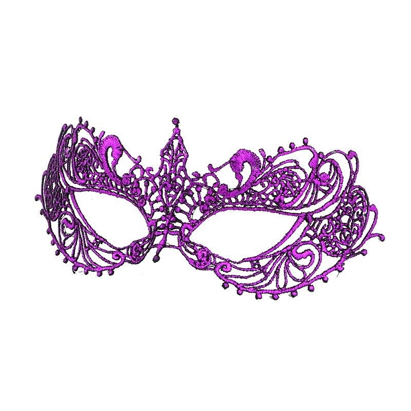 Фиксированная форма, Дамская Сексуальная Маскарадная маска из кружева для карнавала, Хэллоуина, выпускного вечера, Вечерние Маски, фиолетовые, горячее тиснение#35 - Цвет: PM020TZ
