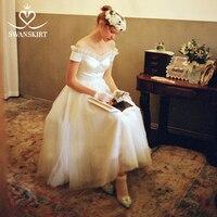 Swanskirt Vintage Off the Shoulder Party A Line Wedding Dress 2019 Sweetheart Fairy Tea Length Bride Gown Robe De Mariage RZ01