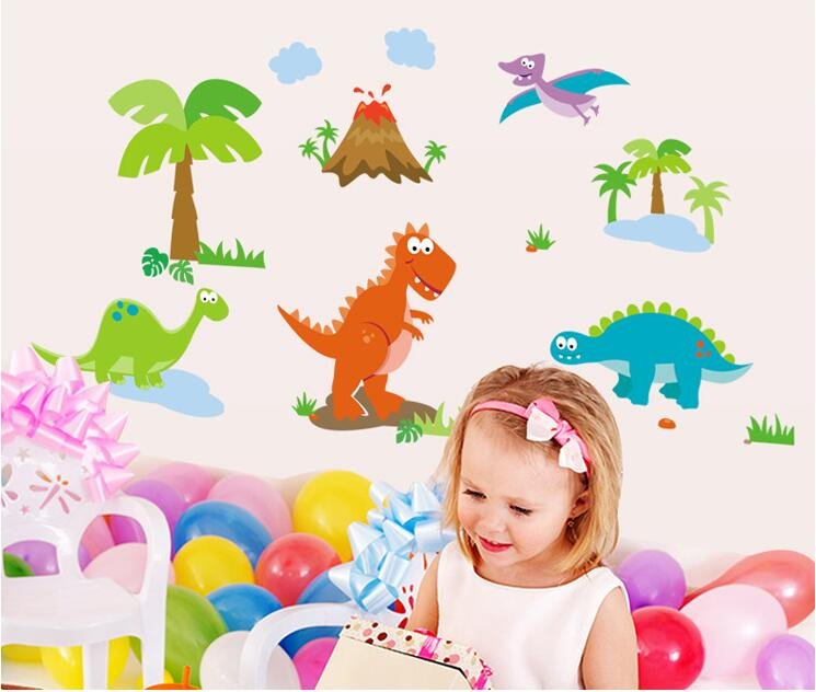 Dinosaur World Dinos Wall Stickers DIY Dinossauro Cartoon Kids Rooms Boy Bedroom Vinyl Decoration Adesivo De Parede Infant Decor