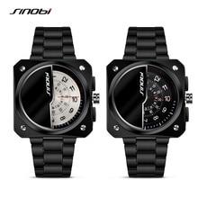 SINOBI Nueva Moda de Lujo Para Hombre Negro Cuarzo Reloj de Pulsera de Acero Inoxidable Men Square Reloj Militar Relogio masculino Regalo SN25