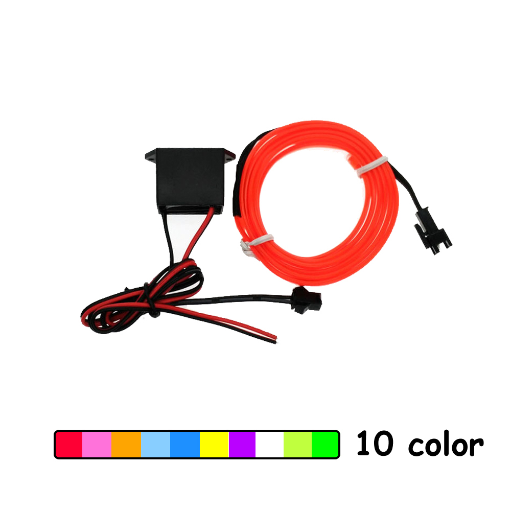 цена на 1m/2m/3m/5m/8m/10m 6mm Sewing Edge Neon Light Dance Party Car Decor Light Flexible EL Wire Rope Tube LED Strip With DC12V Driver