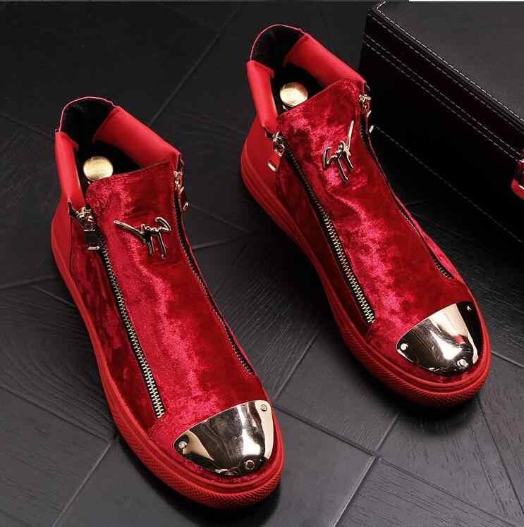 2019 мужские модные повседневные ботильоны; сезон весна-осень; ботинки для верховой езды из флока с металлическим украшением; высокие ботинки в стиле хип-хоп