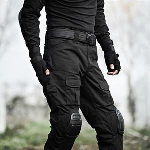 Image 3 - טקטי מכנסיים גברים צבאי הסוואה Pantalon צפרדע מטען מכנסיים ברך רפידות לעבוד מכנסיים צבא צייד SWAT Combat מכנסיים