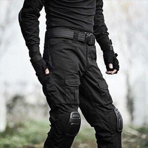 Image 3 - Taktik Pantolon Erkekler Askeri Kamuflaj Pantalon Kurbağa Kargo Pantolon Diz Pedleri Iş Pantolon Ordu Avcı SWAT Savaş Pantolon