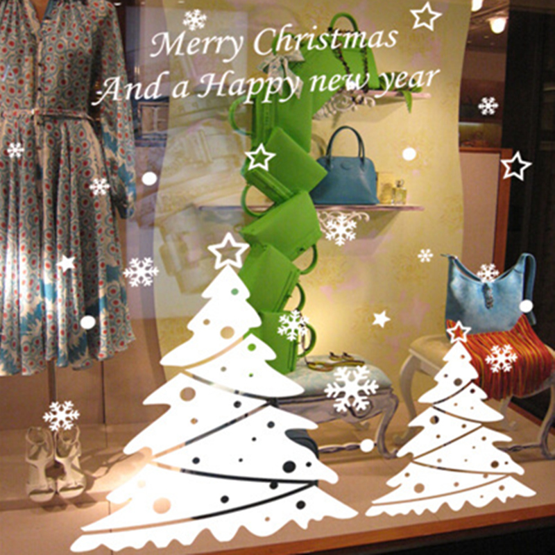 Happy New Year Christmas snowflake Christmas Tree wall stickers shop window stickers glass tea shop waterproof stickers