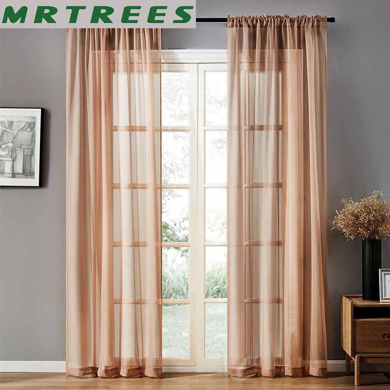 MRTREES Modern Tulle Curtains for Living Room The Bedroom Kitchen Tulle Curtains for window Sheer Curtains Fabric Drapes decor