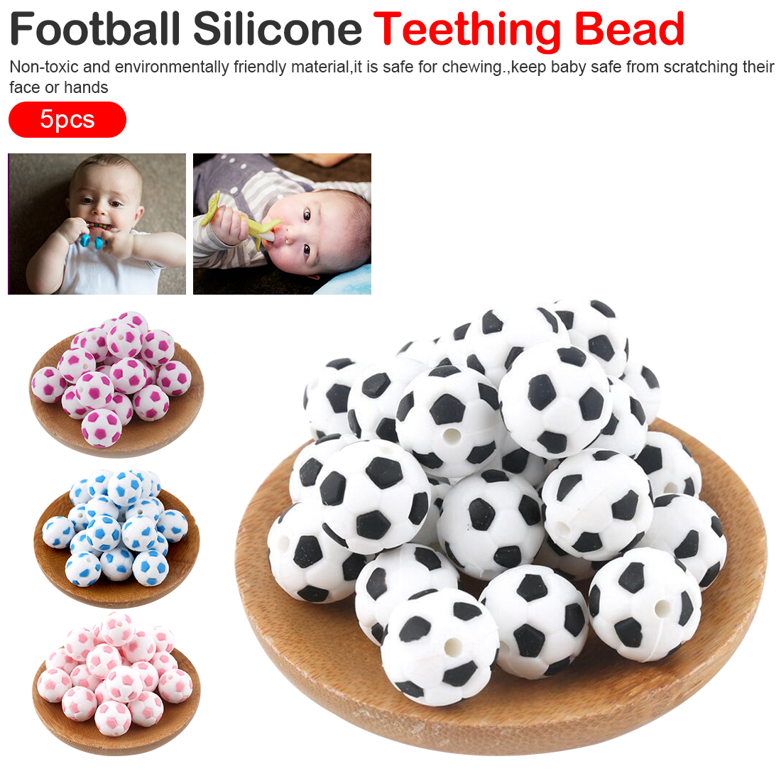 Silicone Beads 15mm Baby Teether Football Food Grade Silicone Soccer Round Bead 5PC BPA Free Bracelet Making Teether Bite
