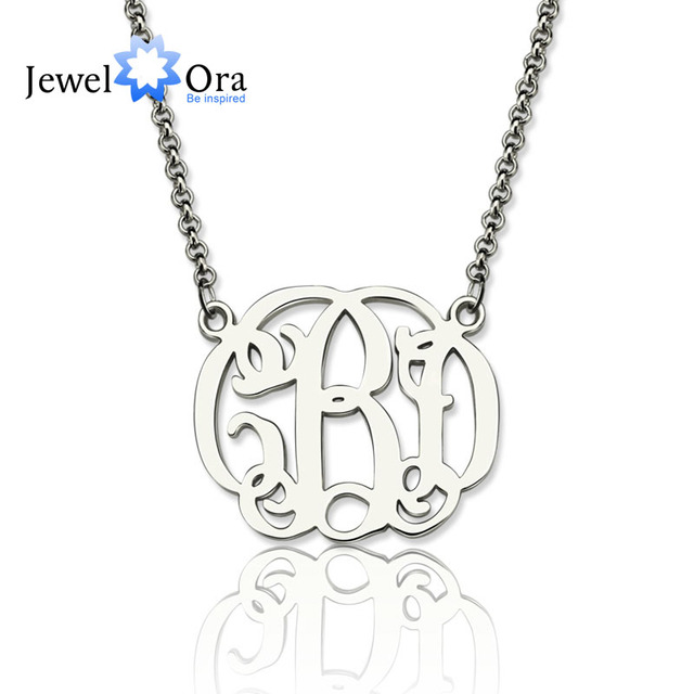 Personalized 925 Sterling Silver Monogram Necklace Hebrew nameplate  Necklace Customize Name Jewelry Gift (JewelOra NE101373)-in Pendants from  Jewelry