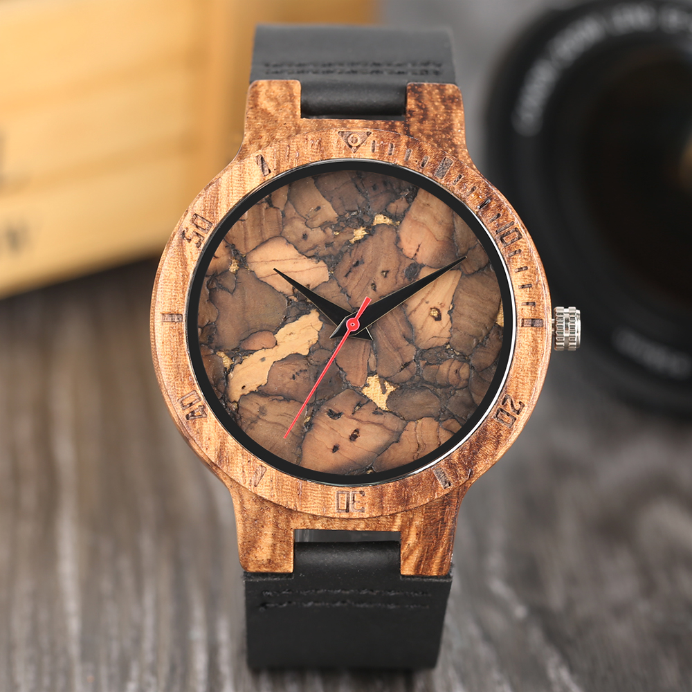 2020 Creative Simple Wood Watches Men's Watch Cork Slag/Broken Leaves Face Wrist Watch Original Wooden Bamboo Male Clock Relogio