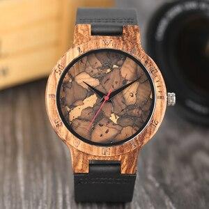 Image 1 - Relojes creativos simples de madera para hombre, reloj masculino Original de madera de bambú con estampado de hojas rotas y recortes de corcho, 2020