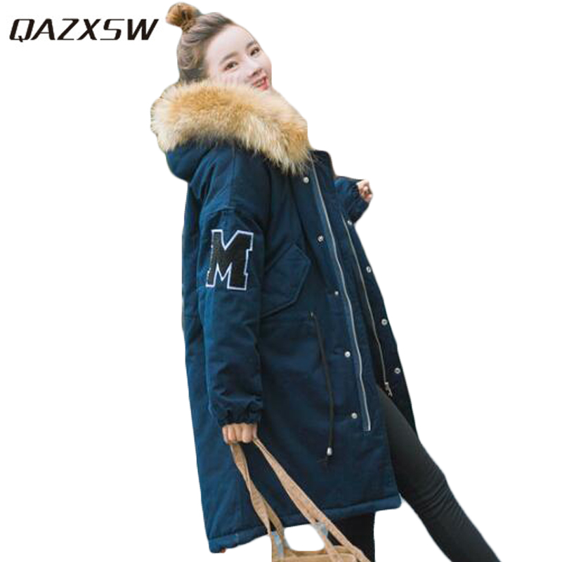 QAZXSW New Korean Women Cotton Jackets Hooded Long Parkas Big Fur Collar Casual Plus Size Winter Jacket Super Warm Outwear HB375 large size winter parkas women hooded jacket coats korean loose thick big fur collar down long overcoat casual warm lady jackets