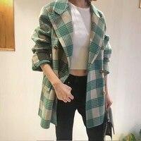 2018 Double faced Wool Outear зеленый одежда в клетку женский Корея шерстяная Верхняя одежда хорошее качество длинное шерстяное Костюмы большой воротни