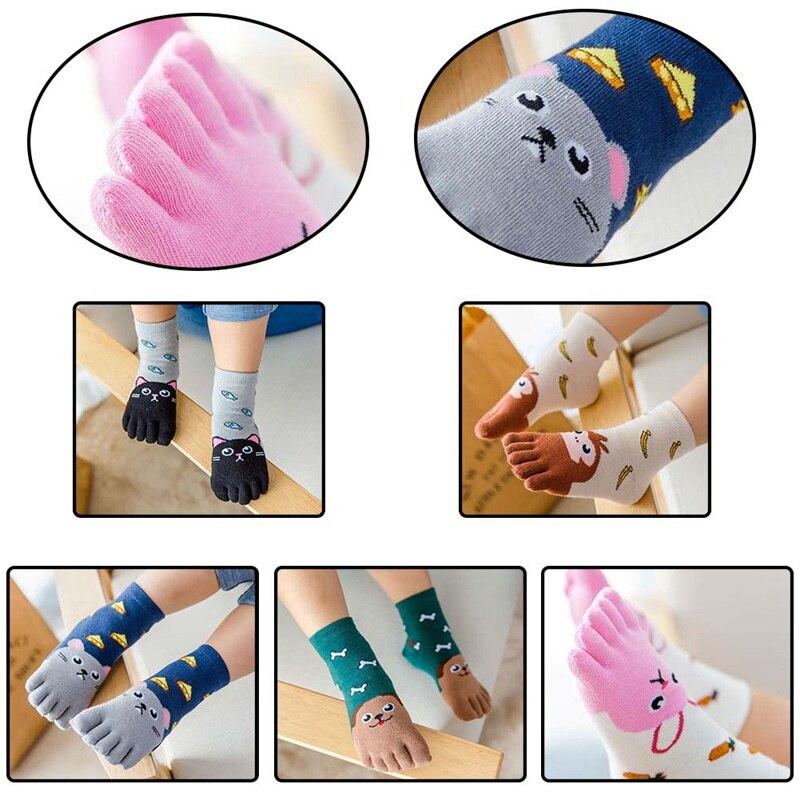 2Pcs/Pair Cute Children Socks Cotton Animal Boys Girls Socks Stuff Toe Socks for Kids Five Finger Sock 3-7T/7-12T stylish women s cotton sock w days of the week mark multicolored 7 pair