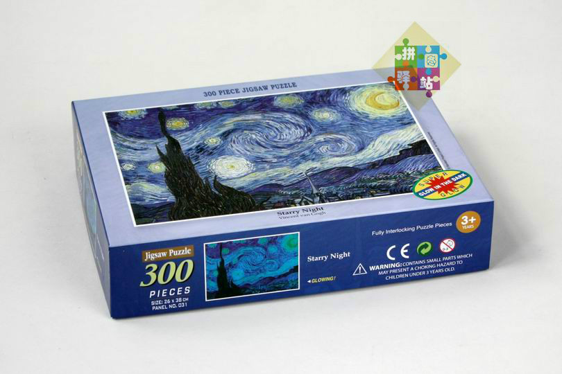 Vincent Van Gogh The Starry Night Noctilucent Jigsaw Puzzle 300 Pieces Glow In The Dark Intelligence Jigsaws Arts Free Shipping