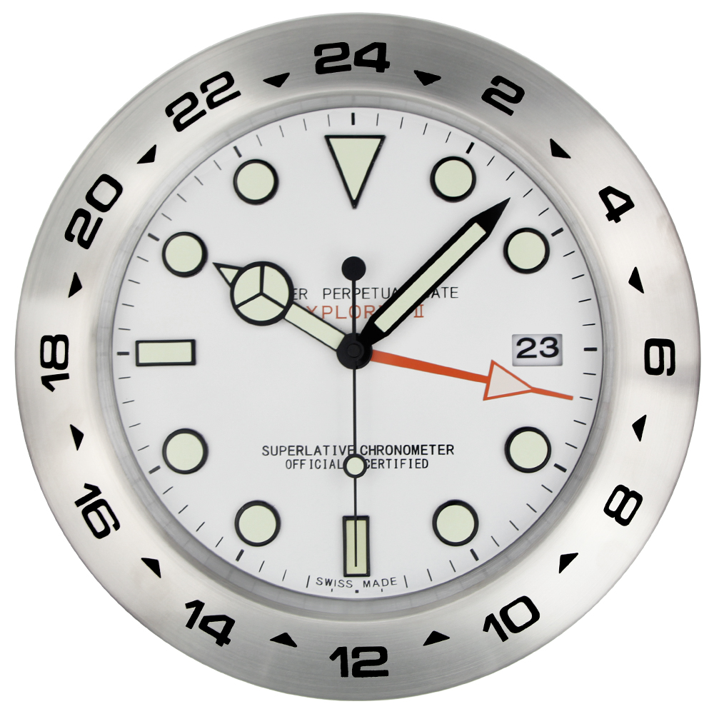 XL Sized 350MM Metal Watch Shape Wall Clock with Night Lights Dial with LOGO