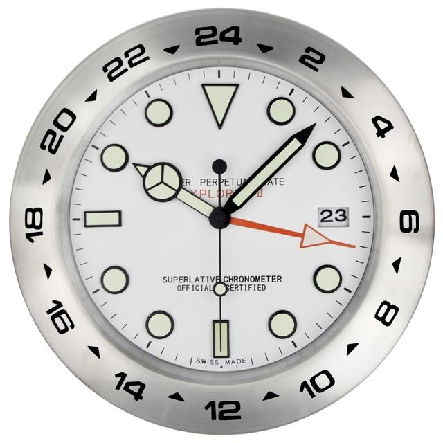 xl taille 385 mm en metal montre forme horloge murale avec night lights cadran avec logo