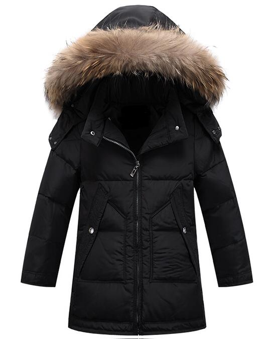 2017 Children Winter Down Coat Boys Long White Duck Down Jacket More Teenagers Really Raccoon Fur Collar Boy More Warm Clothes boys thick down jacket 2018 new winter new children raccoon fur warm coat clothing boys hooded down outerwear 20 30degree