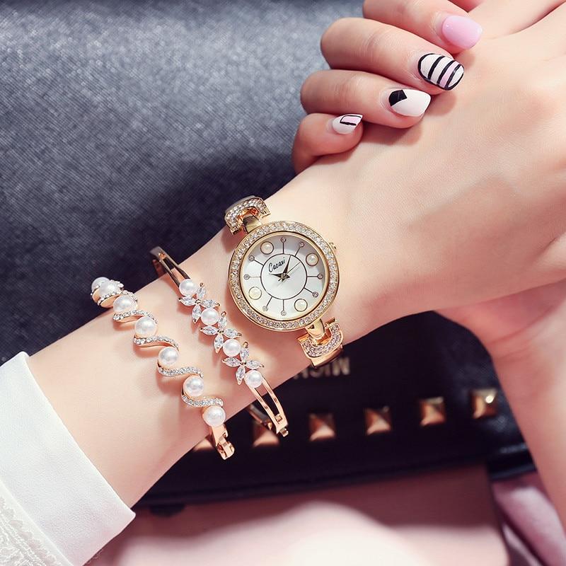 New Fashion Women Watches 3pcs Set Pearl Crystal Bracelet Golden Ladies Quartz Watch Relojes Mujer Luxury Women Wristwatch Gifts