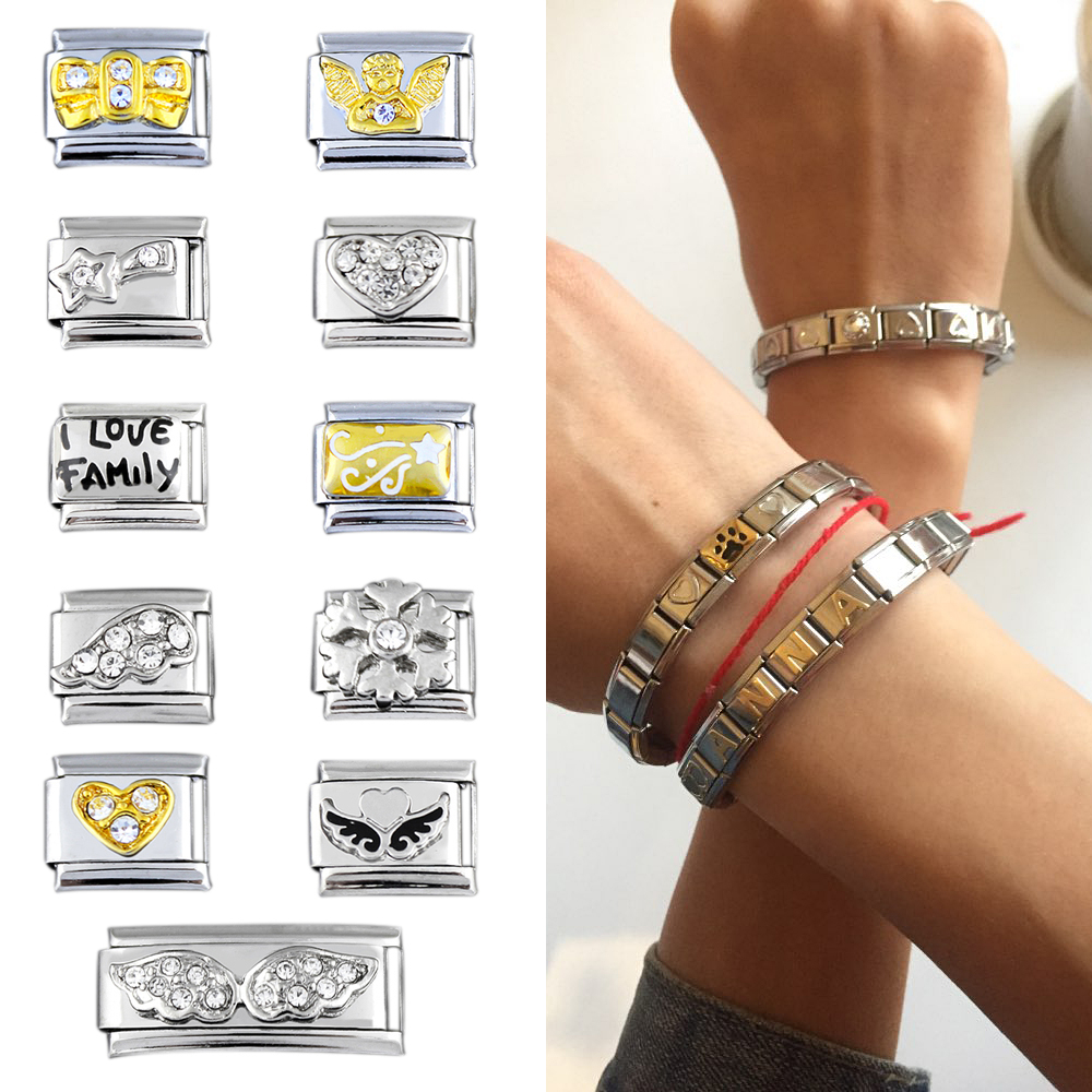 Bracelets For Women Accessories Jewelry Letter Charm Chain Bracelet Bangles Angel Snowflake 2018 Fashion Stainless Steel Jewelry