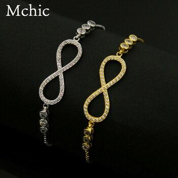 1001a7bdb46f Mchic nueva Bijoux moda Popular Lucky NO. 8 pulsera para mujer hombres  cúbicos Zirconia pulsera