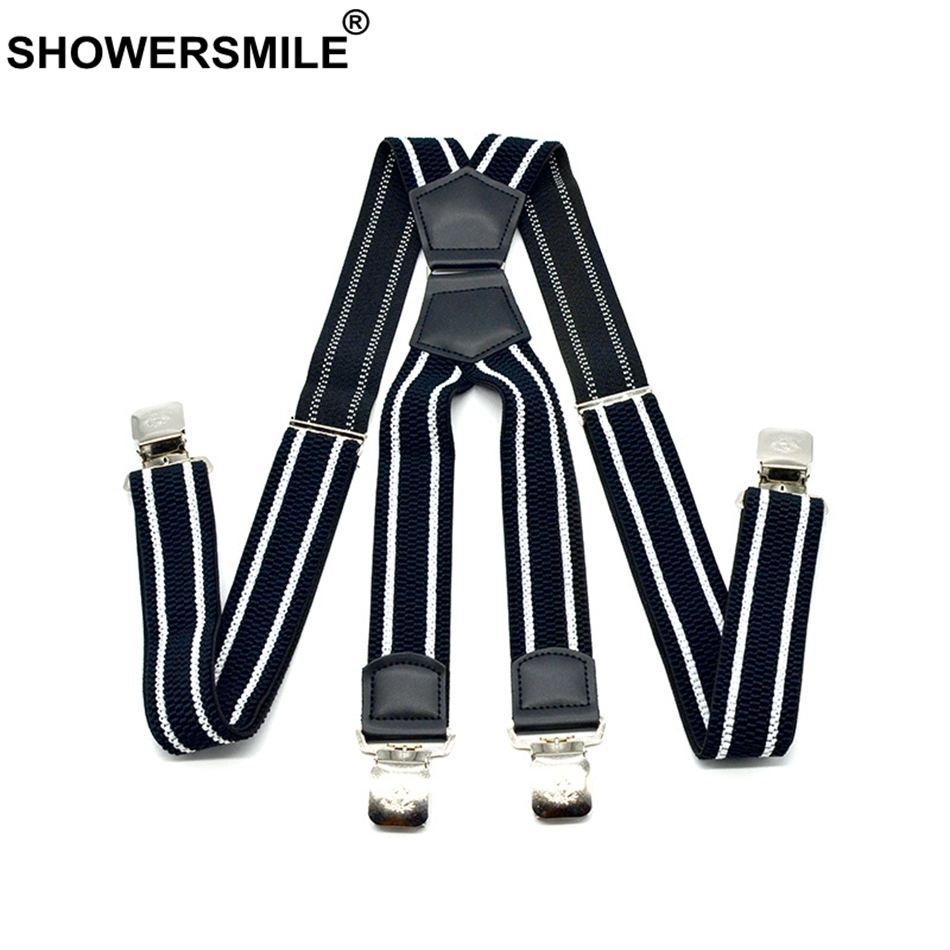 SHOWERSMILE Wide Suspenders Men Patchwork Leather Mens Trouser Belt X Back Black Braces Straps 4 Clips Suspender Male 4cm*120cm