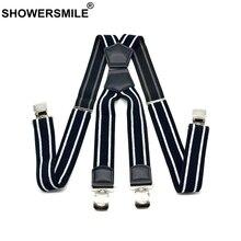 SHOWERSMILE Wide Suspenders Men Patchwork Leather Mens Trouser Belt X Back Black Braces Straps 4 Clips Suspender Male 4cm*120cm