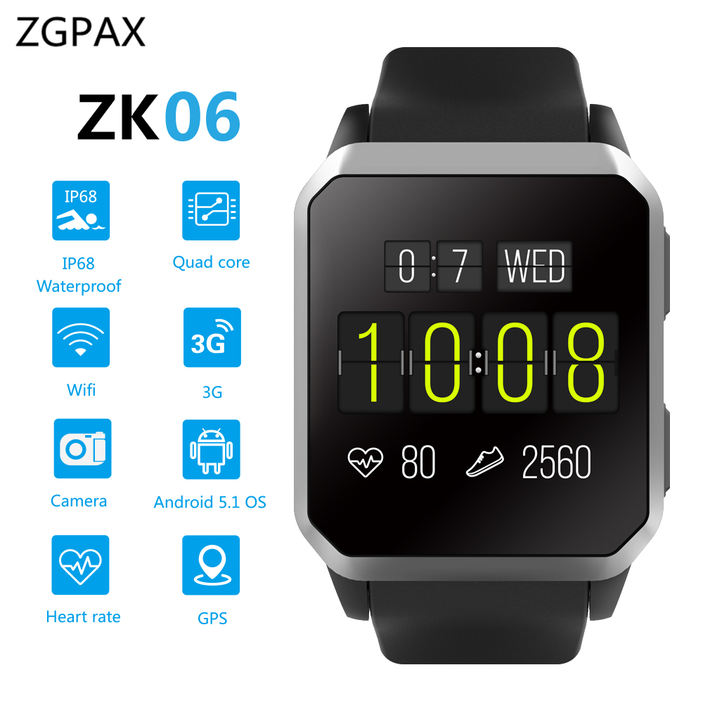 ZGPAX GPS Smart Watch ZK06 Android 5.1 MTK6580 Quad Core Heart Rate Monitor IP68 Waterproof WristWatch for Android IOS PK KW88 original amazfit bip youth edition smart watch gps glonass bluetooth 4 0 heart rate monitor ip68 waterproof android 4 4 ios 8