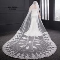 In Stock Wedding Veils 2018 Real Images Two Layer 3.5 M Long Lace Appliqued Edge New Style Bridal Veil with Covered Face Tulle