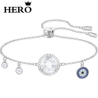 HERO Original High Quality 1:1 SWA Blue Devil Eye Platinum Shrink Bracelet With Logo Envelope