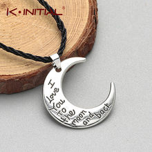 Kinitial Fashion Simple Crescent Moon Necklace Half Moon Pendant Necklaces Engrave I love you to the moon and black Jewelry Gift(China)