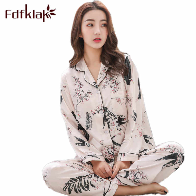 328cf3552 Fdfklak 2018 Spring Autumn Long Sleeve Print Sexy Pijama Silk Pyjamas  Female Home Suit Tracksuit Women