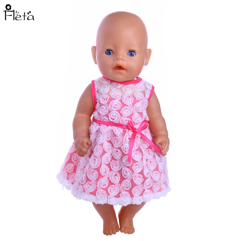 Fleta new 43cm baby born  doll clothes 4 Style sping dress for zapf doll b22
