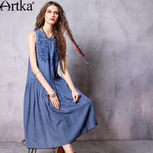 Artka Women's Summer New Boho Vintage Solid Mid-Calf Sleeveless Off the Shoulder Embroidery Cutton Comfy Dress LA10766X